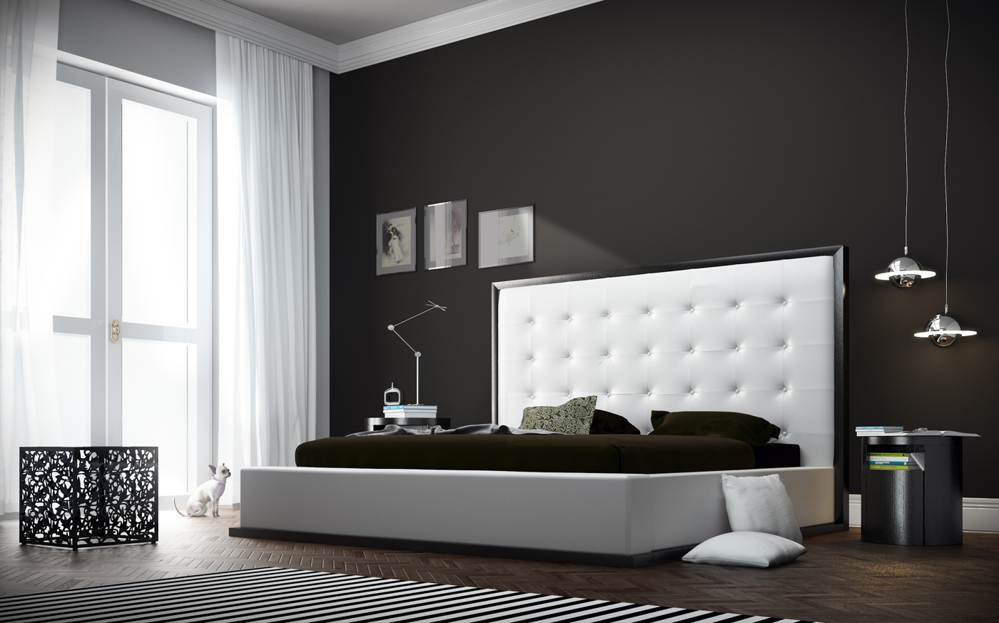 Ludlow modern bed with tall white headboard queen Set de chambre king noir
