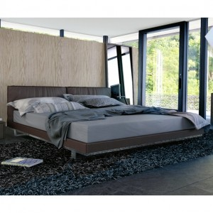 Contemporary Platform Bed in Dark Coffee Leather