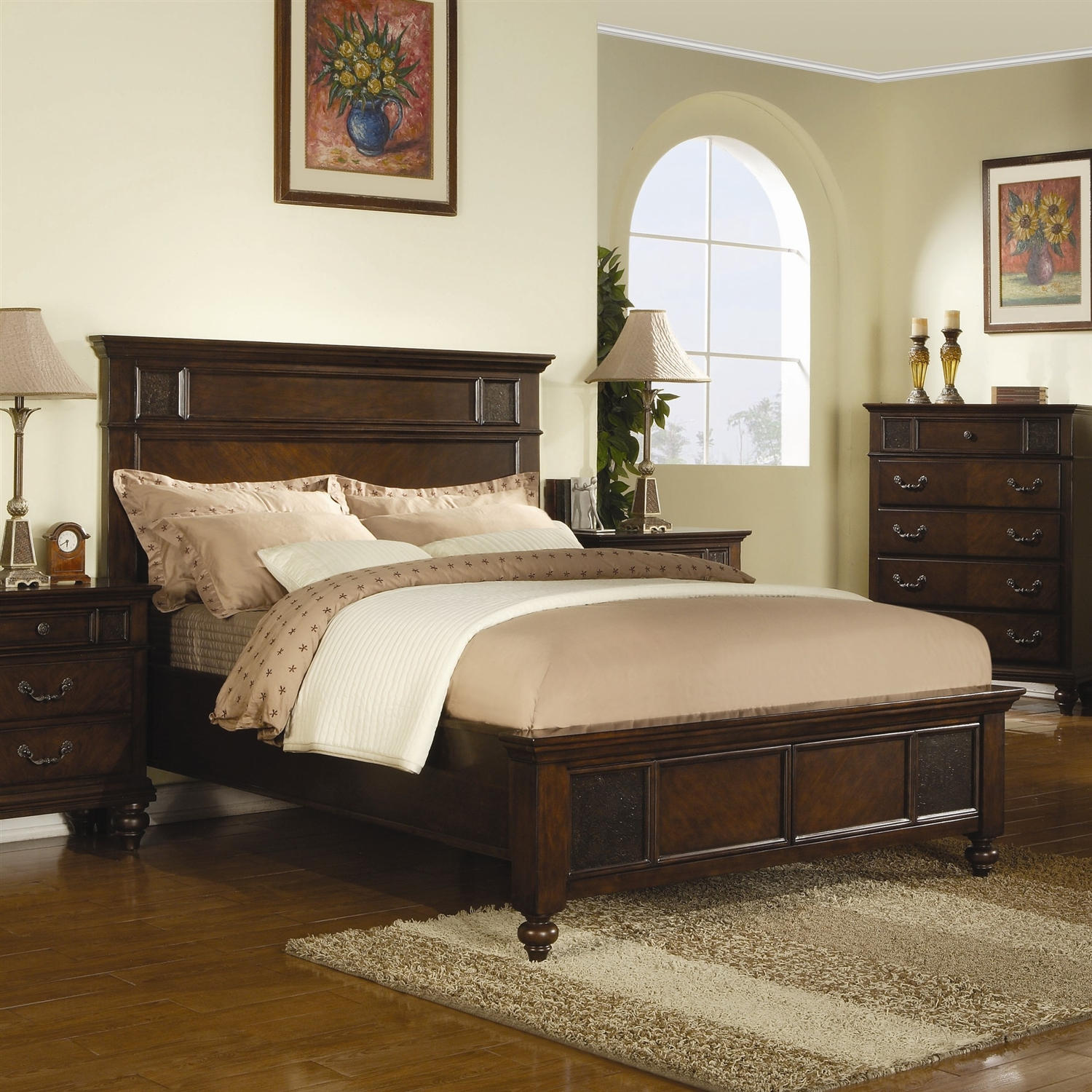 King Size Classic Neo Traditional Wood Bed In Dark Cherry Merlot Finish