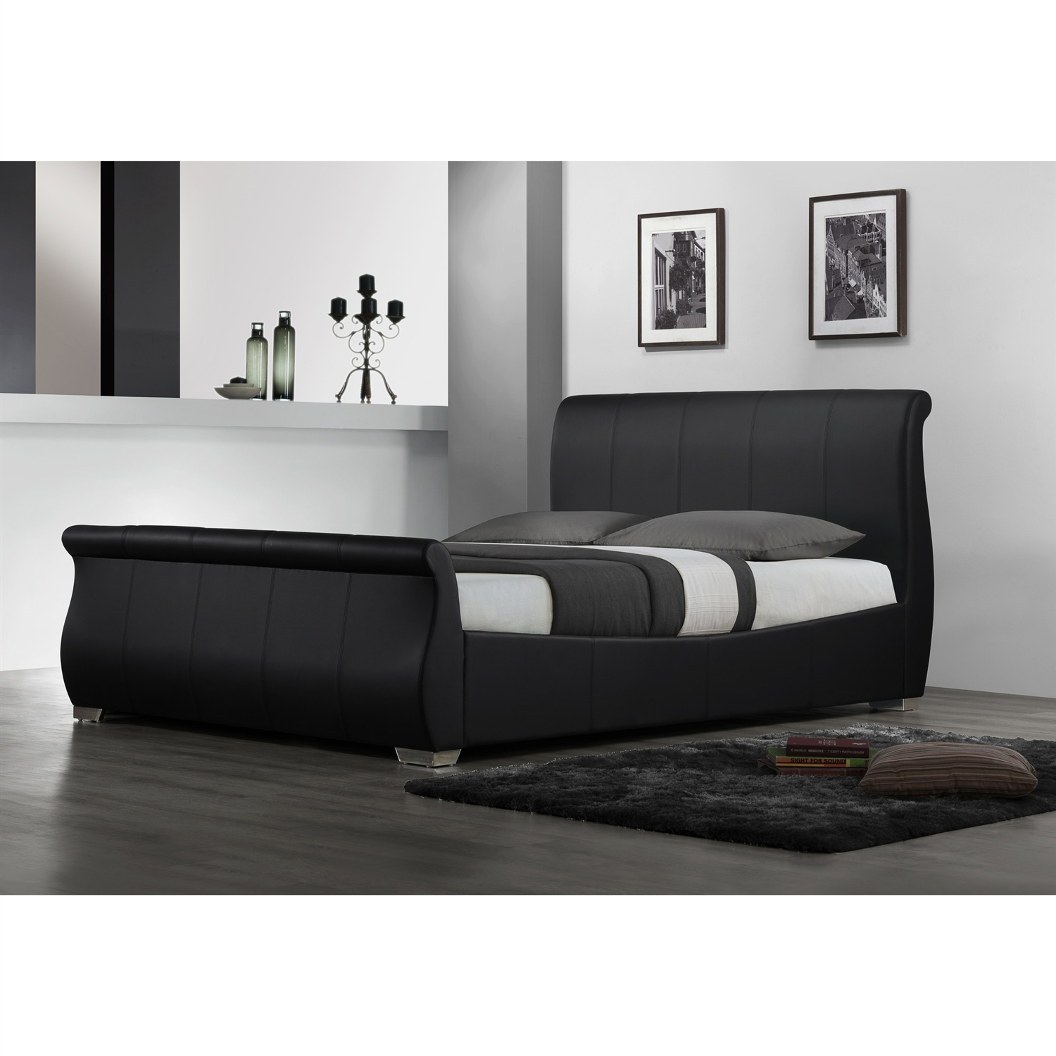 queen size modern sleigh style platform bed in black faux leather -