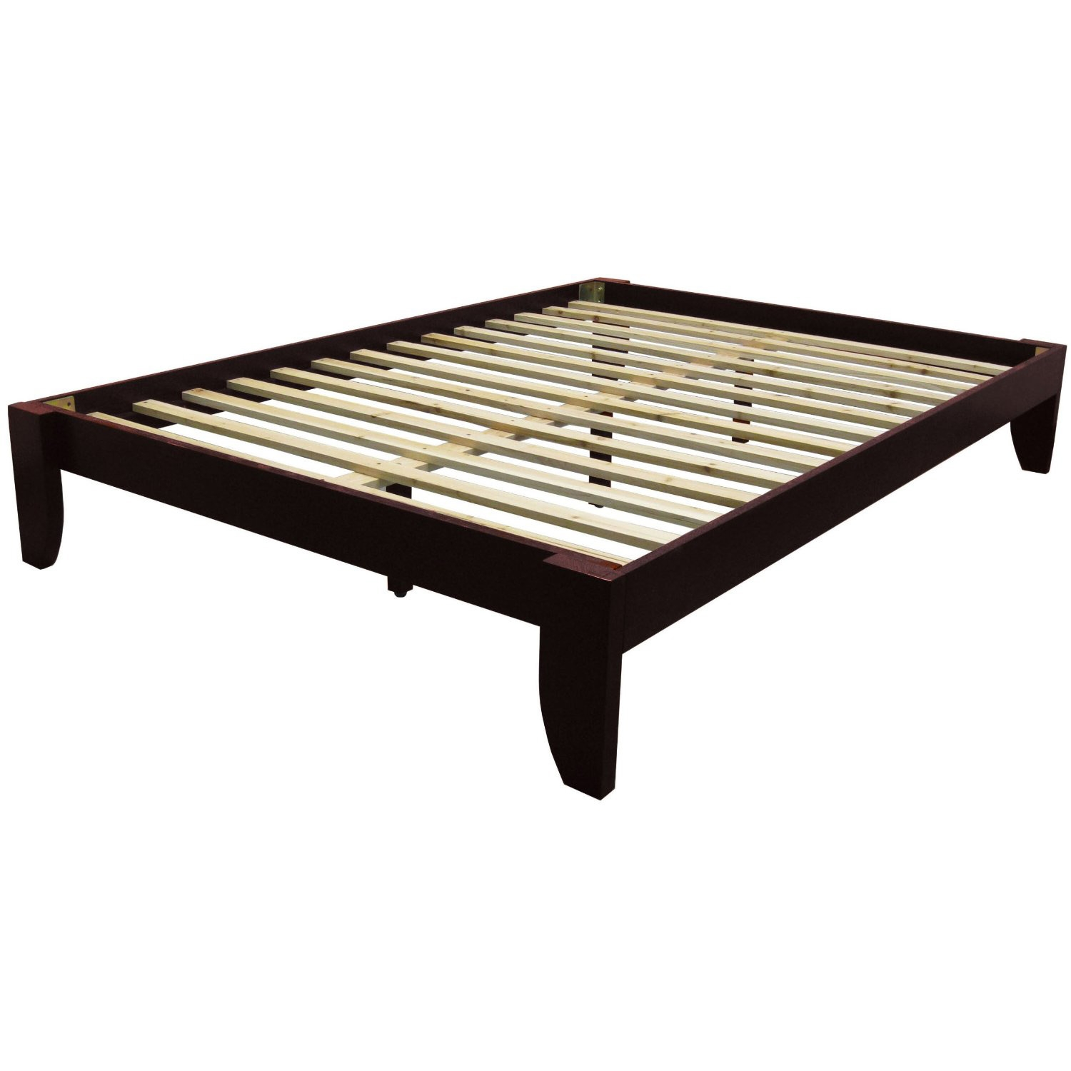 queen size platform bed frame in mahogany wood finish