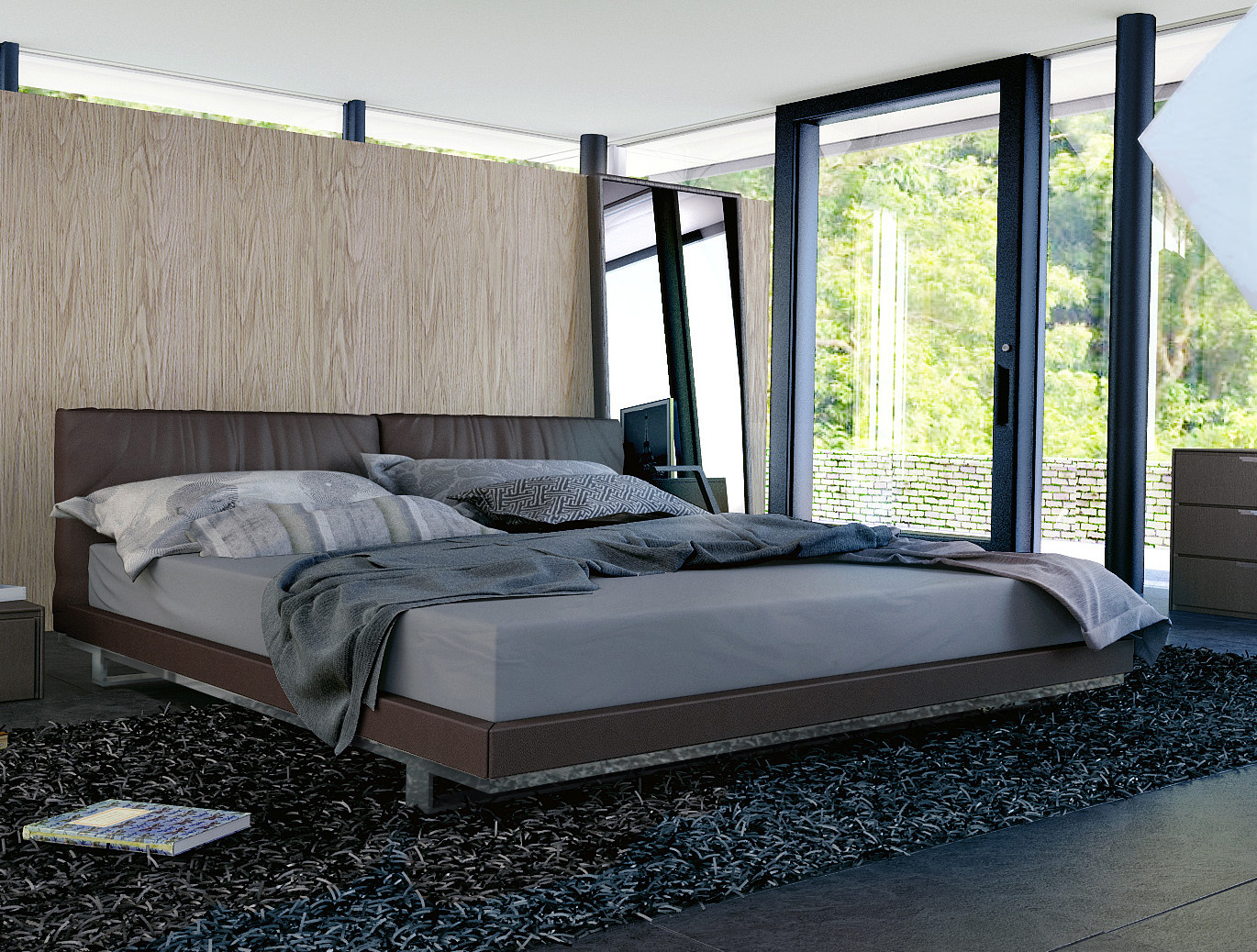 modern platform bed with dark coffee faux leather headboard size king. Black Bedroom Furniture Sets. Home Design Ideas